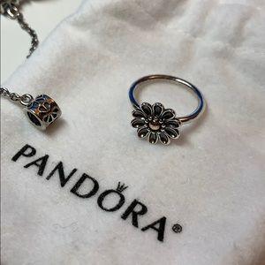 Pandora Sterling Silver & 14K Oopsie Daisy Ring